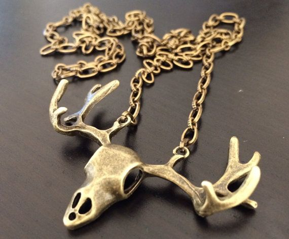 Deer skull long necklace by CCCountryCharm on Etsy