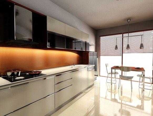 kitchen orange white