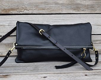Black / Whiskey Brown Leather Crossbody Purse - Fold Over Clutch - Leather Zip Pouch - Convertible 3 Way Purse - Black Leather Clutch