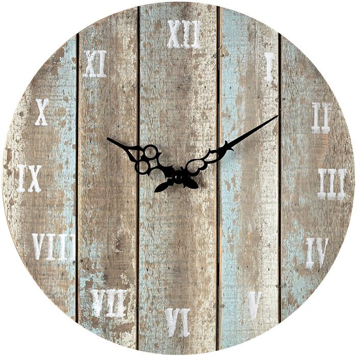 love this distressed/reclaimed wood clock!!! regular numbers instead of roman numerals
