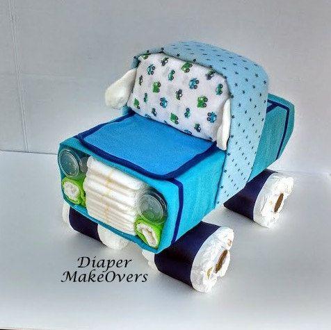 Truck Diaper Cake - Baby Boy Unique Diaper Cake - Blue Truck - Baby Shower Gift or Centerpiece