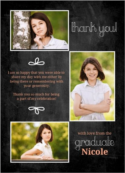 Graduation Thank You Card Peach Chalkboard