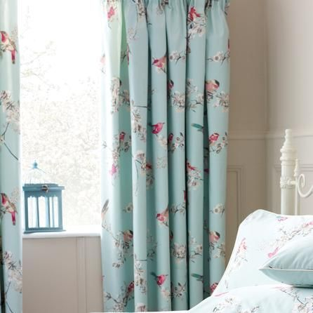 duck hair style duck egg beautiful birds thermal pencil pleat curtains 4686