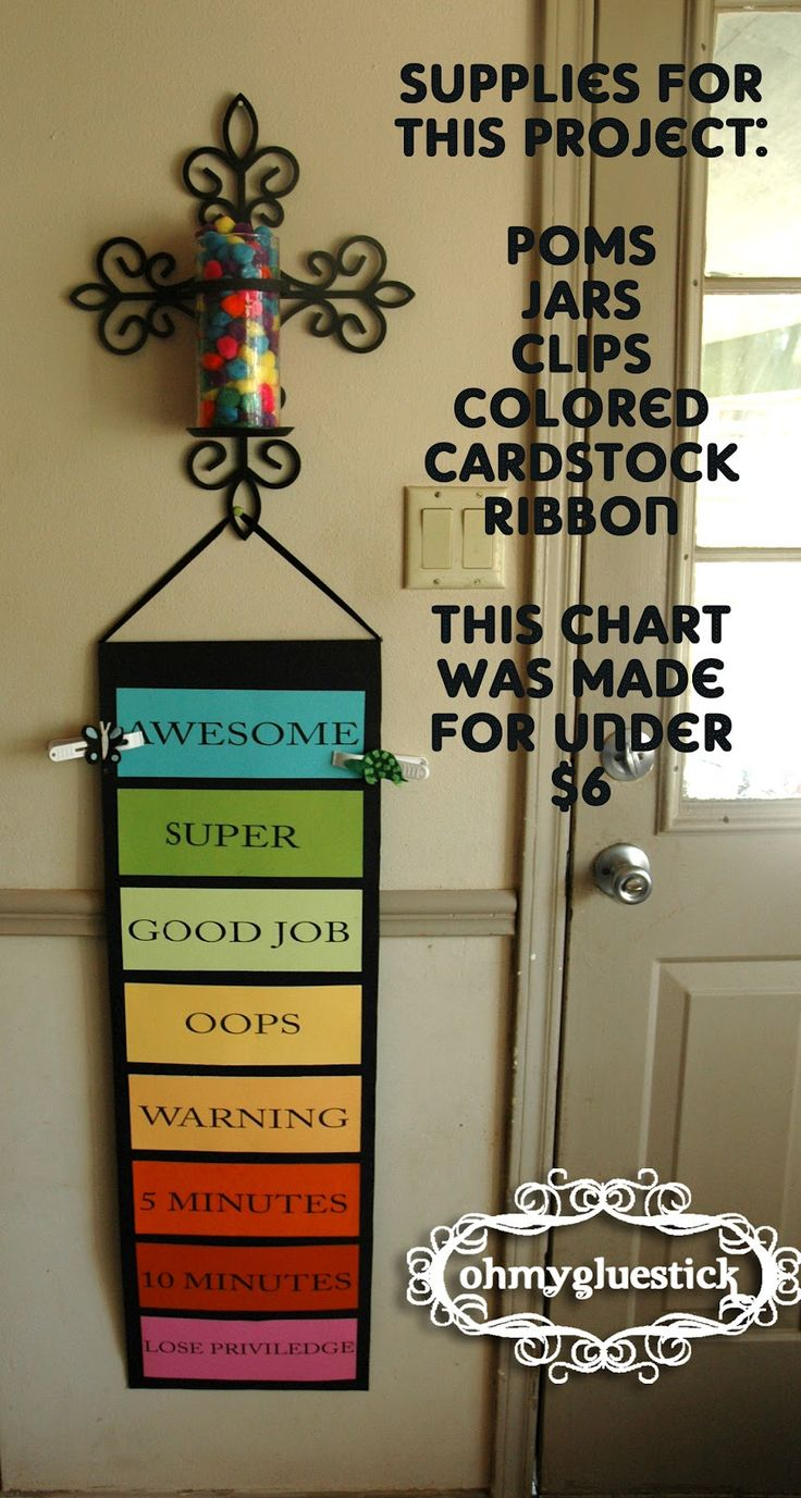 Going to make one for home! Behavior Chart: Begin at Good Job every day. The clips are moved up and down based on certain requirements. If a child is on any green space at the end of the day they get 5 pom poms in their jar. When the jar is full the child gets their pre-chosen reward (treat, prize, night out with mom or dad, etc.)