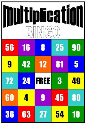 Multiplication BINGO game. Tutor can use dice or flip a deck of cards over to find factors.