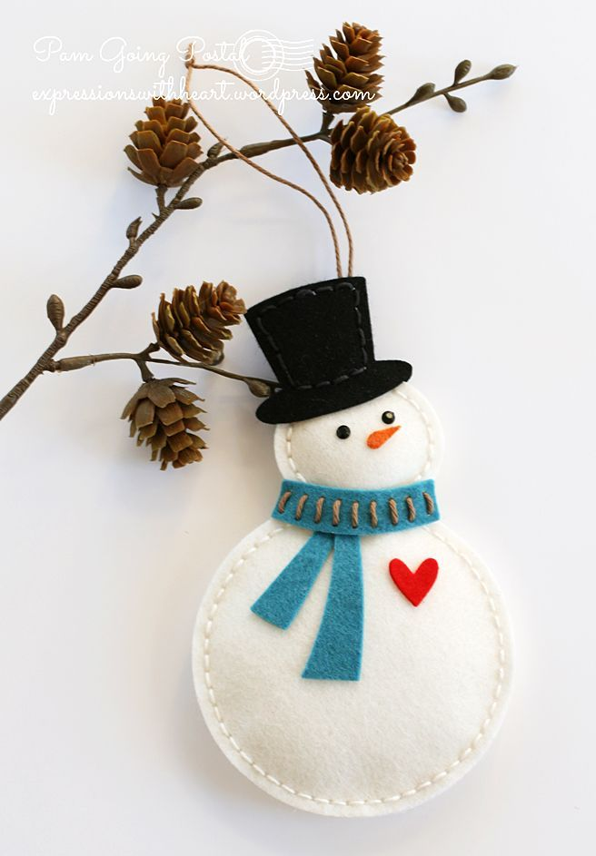 SMILE! This snowman with his sweet heart addition is helping me say Happy New Year to all! I used the Memory Box Plush Snowman cut from Taylored Expressions wool felt…love her felt!  I cheate…