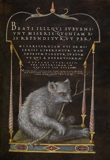 Beneath a canopied structure, a wiry-haired animal, perhaps a sloth,  munches on a twig. A Latin text based on Jesus's Sermon on the Mount  appears above. Al...