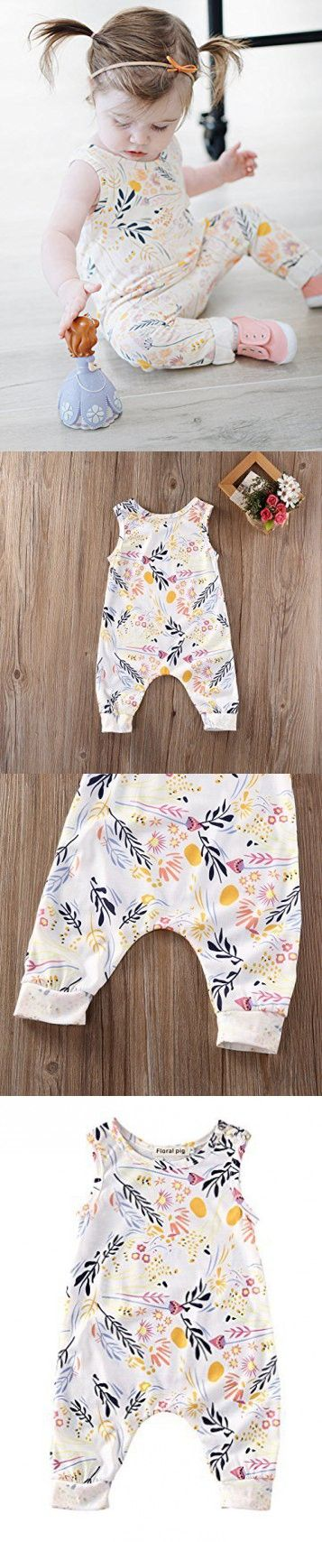 Baby Girl Sleeveless Sweet Floral Jumpers Rompers Bodysuit Playsuit Outfits (6-12 Month)