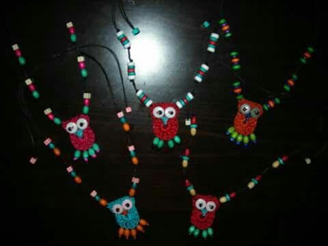Crochet owl necklaces