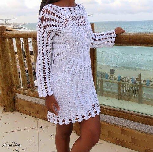 crochelinhasagulhas: Vestido branco em crochê by Katia Portes