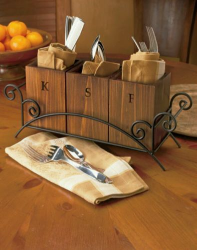 Flatware Caddy Buffet Western Rustic Silverware Holder