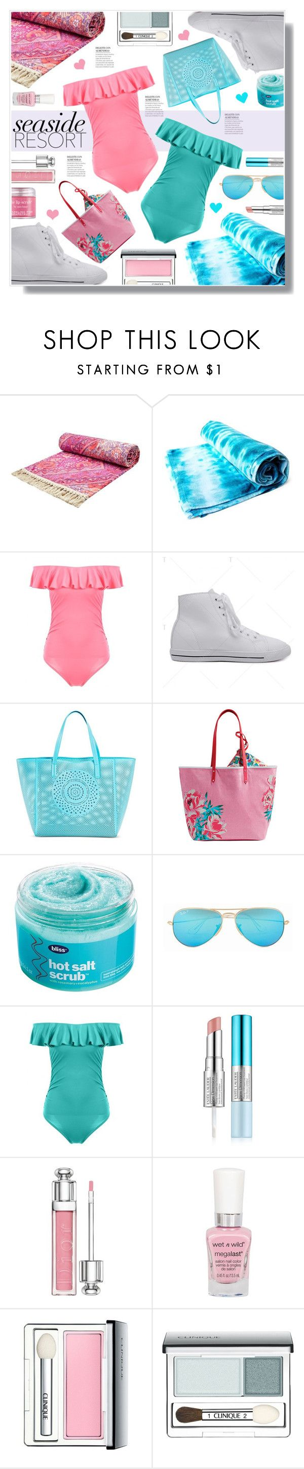 """""""Twinkledeals 75"""" by becky12 ❤ liked on Polyvore featuring Brika, Merona, Vera Bradley, Bliss, Ray-Ban, Estée Lauder, Christian Dior, Clinique, beach and swimsuit"""