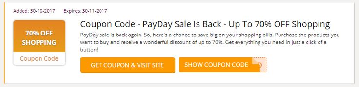 PayDay sale is back again. So, here's a chance to save big on your shopping bills. Purchase the products you want to buy and receive a wonderful discount of up to 70%. Get everything you need in just a click of a button! #Lazada_Voucher_Codes #BlackFriday #BlackFridaySG #Singapore #Lazada_promo_codes #Lazada_coupon_codes #Lazada_discount_code #Singapore #BlackFriday #BlackFridaySG #BlackFriday2017 #BlackFridaySale #Black_Friday https://sg.collectoffers.com/lazada