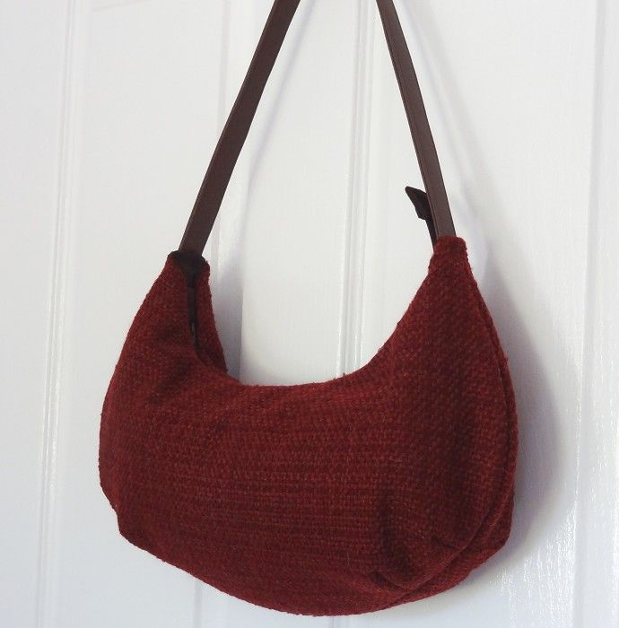 Red Wine Wool Blend Boucle Hobo Handbag - by OneBusySloth on madeit