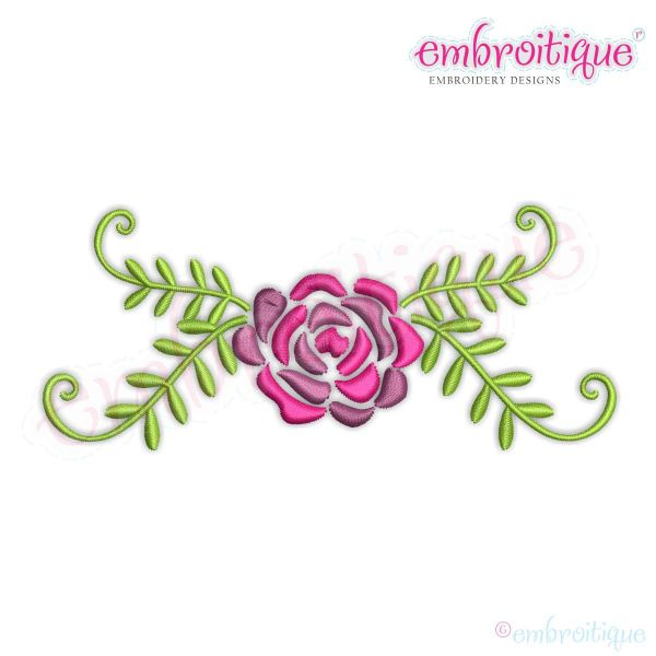 Spring Flower with Leafy Flourish Border Frame Machine Embroidery Design - Embroitique