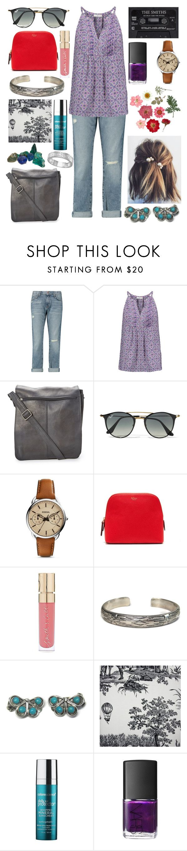 """""""Esme"""" by katherineried ❤ liked on Polyvore featuring Current/Elliott, Joie, Le Donne, Ray-Ban, FOSSIL, Apsara, Mulberry, Smith & Cult, NARS Cosmetics and BillyTheTree"""