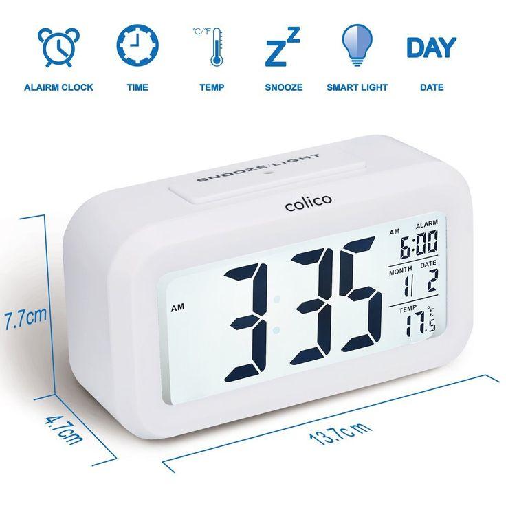 Klassischer Wecker mit großer Anzeige und etwas Licht -- Colico Smart LED Digital Wecker Snooze 5 Minuten,