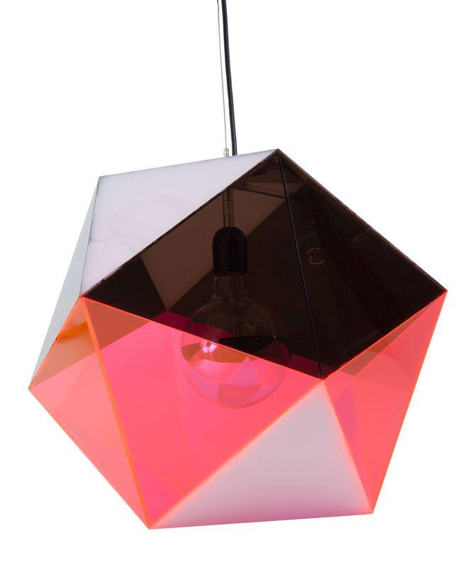 Icosahedron pendant in pink/smoke. Brooklyn-based design lab. ABC Carpet & Home.