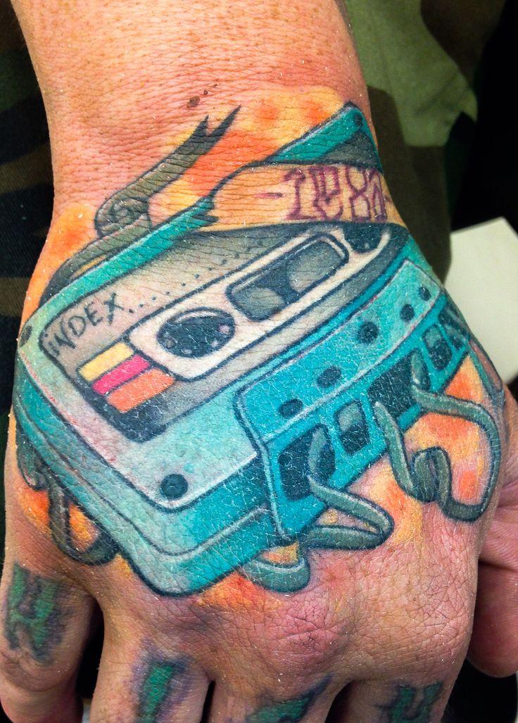 80s cassette tape hand tattoo hand tattoos dj tattoo