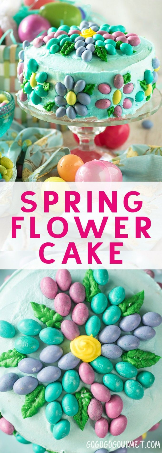 """This Spring Flower Cake is super easy to make using your favorite candy and a few simple cake decorating basics. Learn how to """"watercolor"""" a cake! via @gogogogourmet"""