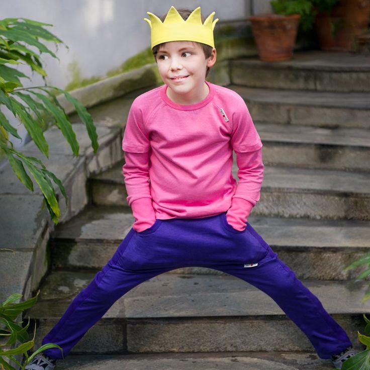 Pantaloni ManyMonths Kangaroo cânepă si bumbac organic - Blue Purple