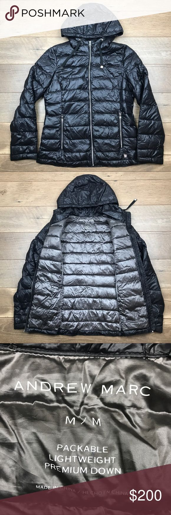 Andrew Marc Packable Lightweight Premium Down Coat NWOT Andrew Marc Packable Lightweight Premium Down Coat. Includes an Andrew Marc Bag. Adjustable drawstring at hood. Front pockets with zippers. Excellent material. Excellent Condition. Andrew Marc Jackets & Coats Puffers
