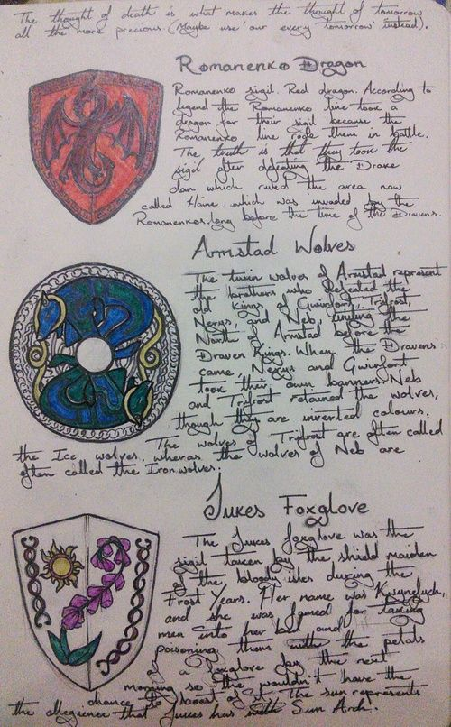 Coat of Arms concepts Obsidian Dawn Story Bible