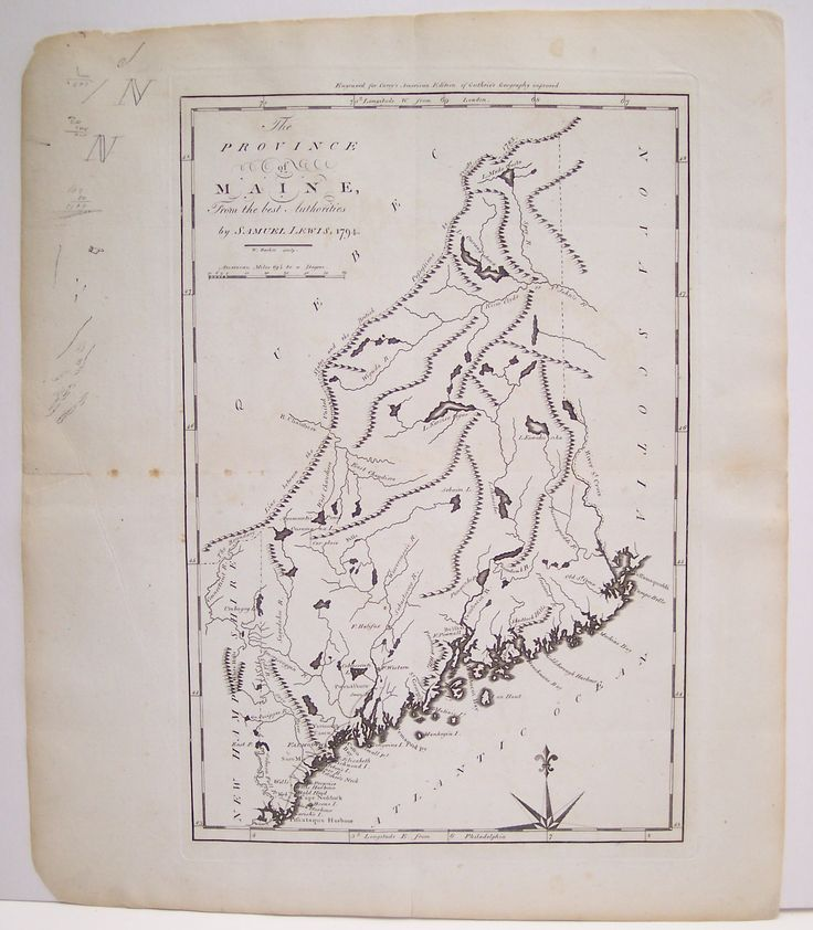Map Antique the Province of Maine from