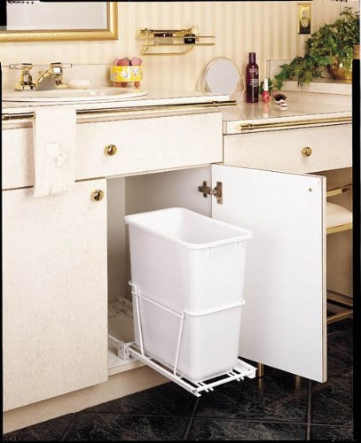 Single 20 Qt Pull Out Waste Container White Rev A