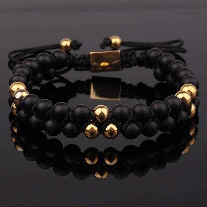 PRE-ORDER : Black Matte Onyx Double Beaded Bracelet 6mm