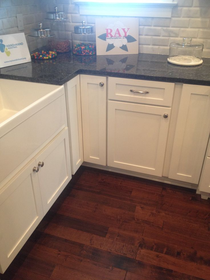 Blue Pearl Granite Counter With White Farmhouse Sink And