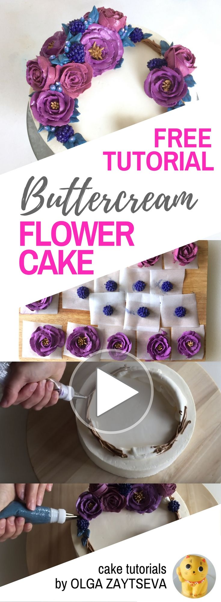 HOT CAKE TRENDS How to make Buttercream roses and berries flower wreath cake - Cake decorating tutorial by Olga Zaytseva. Learn how to make very trendy buttercream roses, pipe berries and create this flower wreath cake.