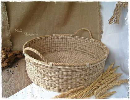 Большая плетеная корзина для фотосессии - бежевый,большая корзина,плетеная корзина