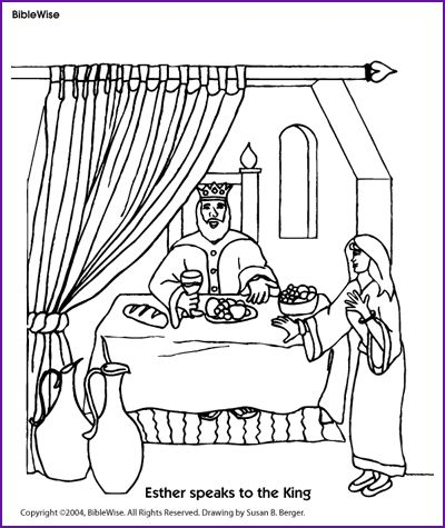 coloring esther speaks to the king kids korner biblewise queen esther