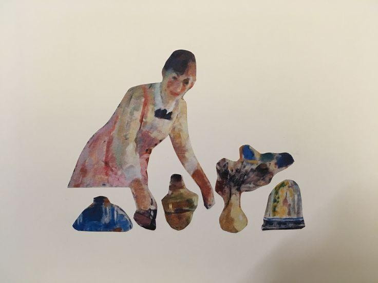Kunstenaar: Rik Wouters Vertrekken vanuit een abstract werk. Opnieuw samengevoegd tot een statisch, rustige compositie.