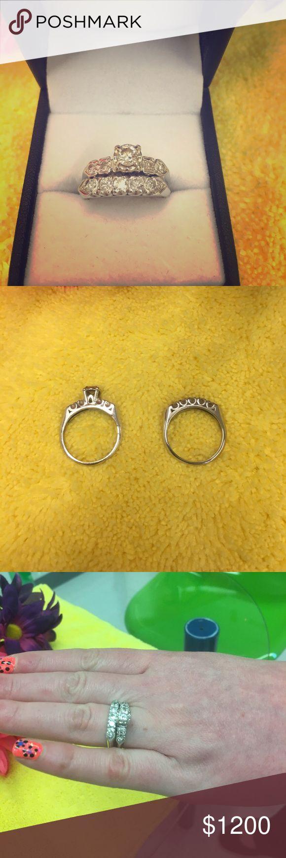 Beautiful engagement ring set Size 7 engagement ring set white gold it's a 3/4 karat diamond ring set Jewelry Rings