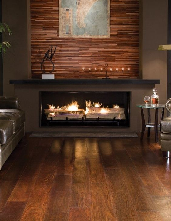 exotic hardwood flooring fireplace and wall treatment