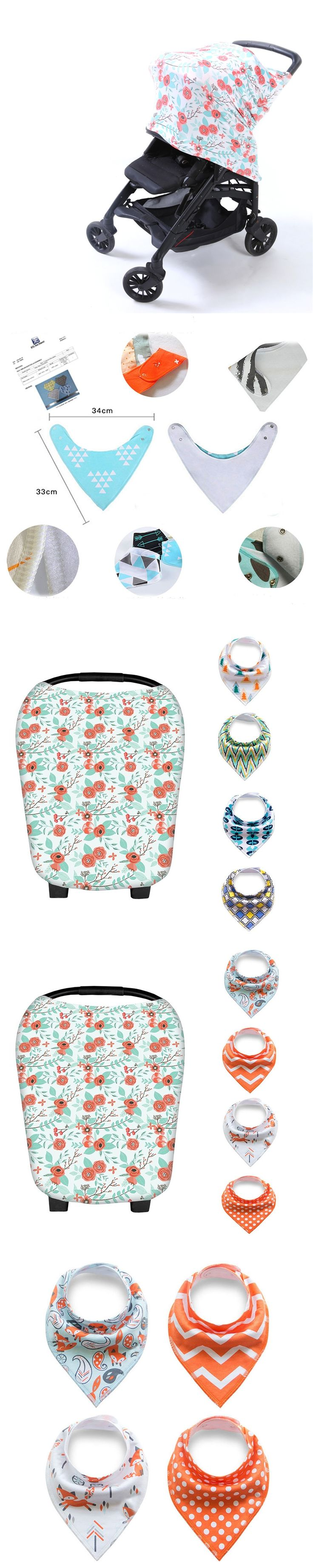 Floral Styles Multi-Use Nursing Cover Scarf for Breastfeeding / Baby Car Seat Canopy with 4 Pack of Baby Bandana Drool Bib
