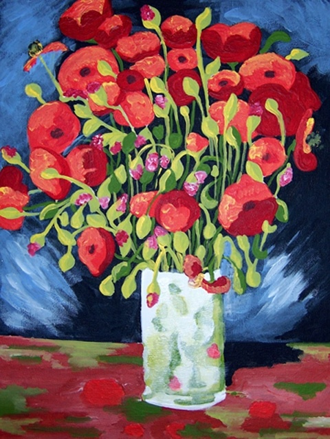 "Van Gogh POPPIES Acrylic Painting Kit 12"" x 16"" Peinture"