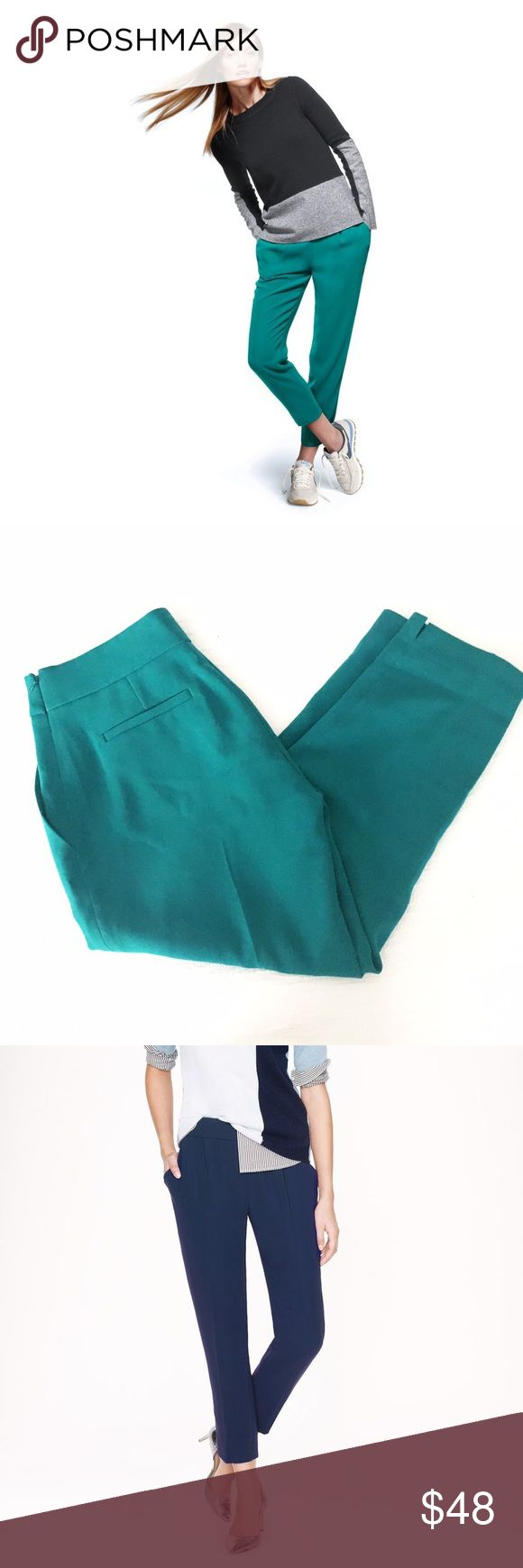 """j.crew collection curator pant Fluidly designed with an easy, draped silhouette, it's a great alternative to the standard work trouser. Poly, side zip, off seam pockets, notches at cuffs, machine wash. Very gently worn condition, only flaw to note is some mild piling on the left front pocket. Laid flat measures, 14.75"""" across the waist, 20"""" across the fullest part of the hip, 10"""" rise, 24"""" inseam. A great pair of pants for us hippier ladies. Runs large, fits closer to a size 4 IMO. J. Crew…"""