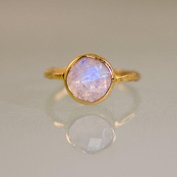 Rainbow Moonstone Ring - June Birthstone Ring - Gemstone Ring - Stacking Ring - Gold Ring - Round Ring