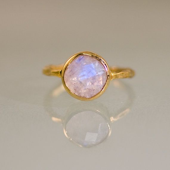 Rainbow Moonstone Ring - June Birthstone Ring - Gemstone Ring - Stack Ring - Gold Ring - Round Ring - Gift For Her