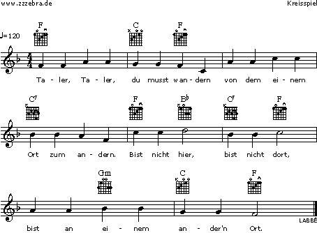 Taler, Taler, du musst wandern - Kinderlieder und Singspiele | Labbé Verlag