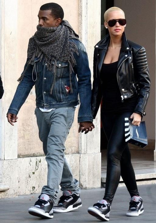 The sleekest pair of J's Kanye West and Amber Rose wearing Jordan Retro III- Black/Cement