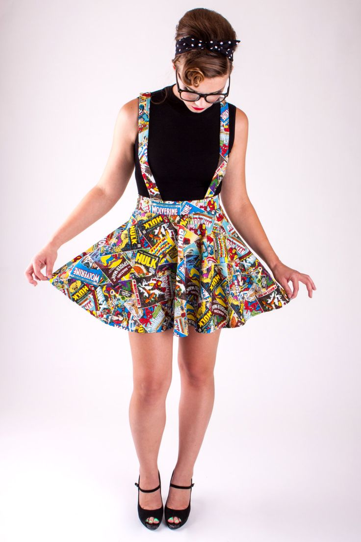 Suspenders+Marvel+Comic+Book+Circle+Skirt+by+ElevenThirtyEight,+$60.00