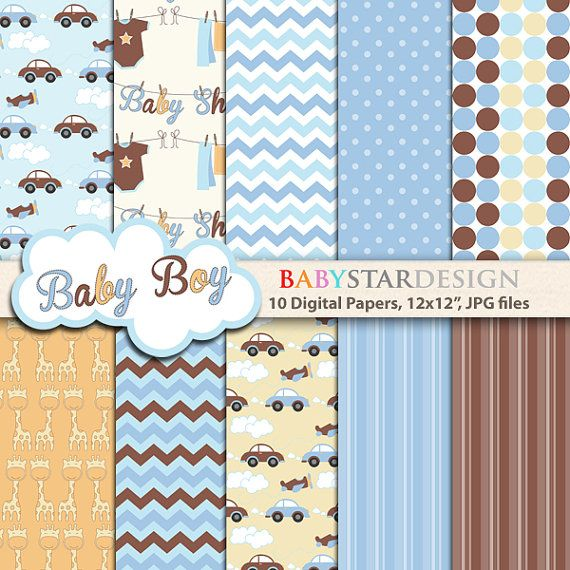 Baby Shower for Baby Boy Digital Papers and by babystardesign, $5.00
