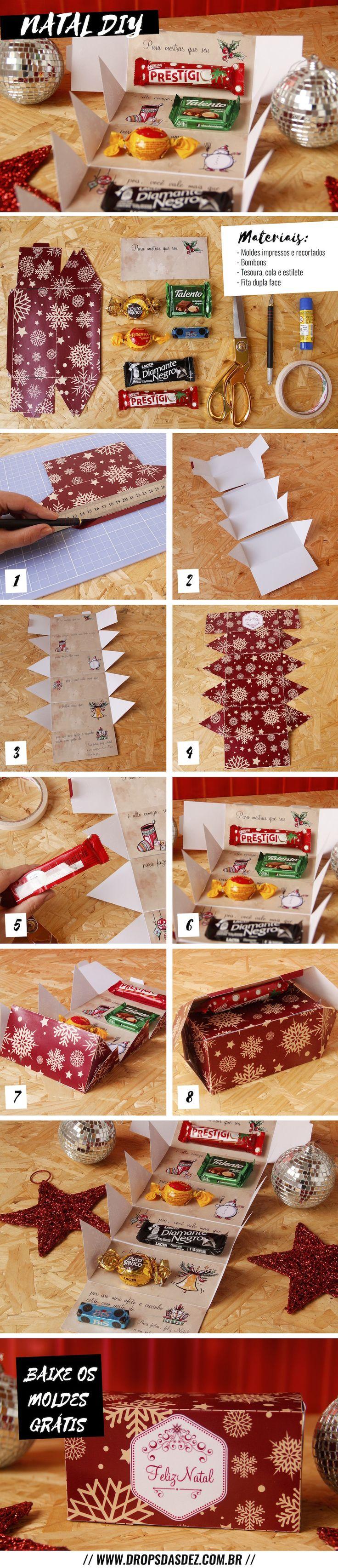 DIY: caixa de bombons com mensagem para presente de Natal