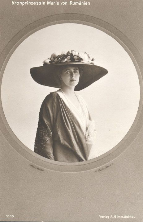 Queen Marie of Romania, wearing a normal, if somewhat large, hat, for a change.