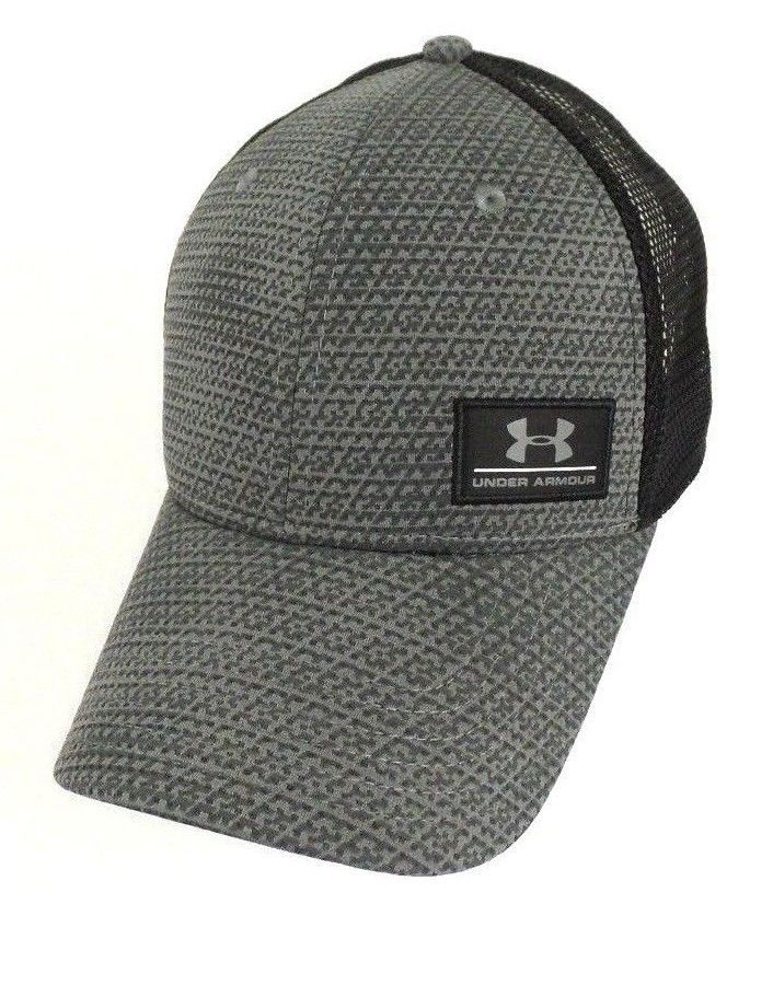 quality design 312db ca0f0 ... cheap under armour mens ua grey black trucker cap mesh back snapback  adjustable hat underarmour baseballcapsnapback