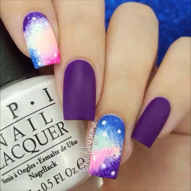 Pastel galaxy nails by @nailsbyjema